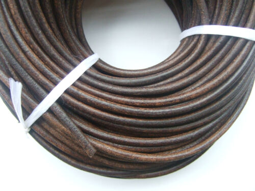 5//10M Dark Brown Genuine Soft Leather 5mm Round Cords String Lace Rope Jewelry