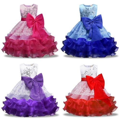 Christmas Kid Girls Floral Wedding Bridesmaid Xmas Birthday Party Princess Dress