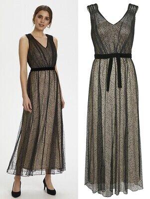 CREAM - 10607408 Lange Kleid ABENDKLEID / PTICH BLACK / 38 ...