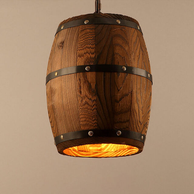 Naure Wood Wine Barrel Hanging Fixture Ceiling Pendant Lamp Lighting Lights Diy