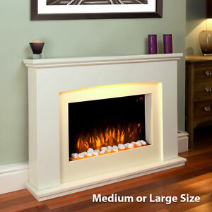 Large-LED-RGB-Cream-Colour-Changing-Fireplace-Remote-Control-Electric-Heater