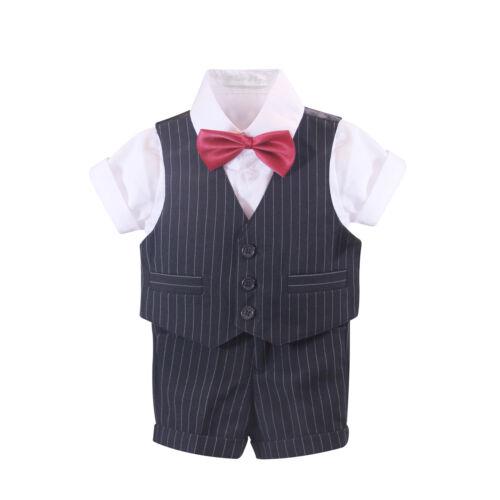 Vest-Shirt-Tie-SHORTS size 000-6 NEW BABY BOYS 4pcs SUMMER Formal Suit Set