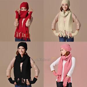 Women Lady 3PCS Winter Warm Tassel Scarf Set Beanie Ski Hat Cap ... 60c778d48