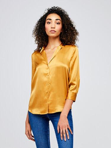 NWT L'agence Aoki Saffron Yellow Gold Silk Button Down Top Blouse Size XS
