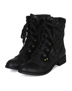 Nature Breeze Pisa-01 New Women Leatherette Quilted Lace Up Combat Boot