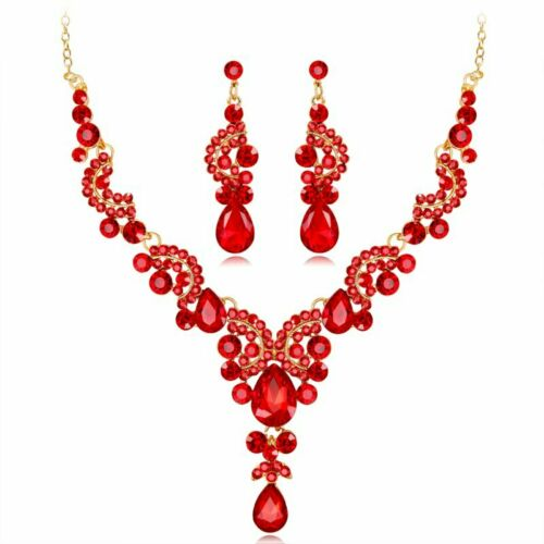 Luxury Prom Wedding Bridal Crystal Rhinestone Necklace Earrings Jewelry Set Gift