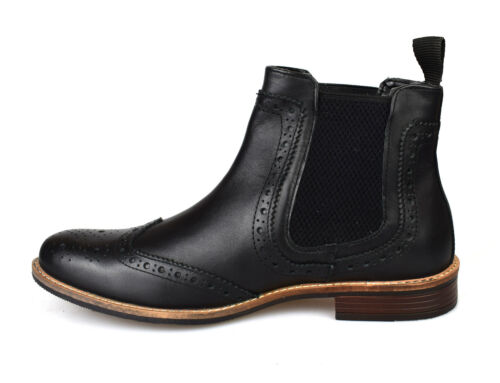 Silver Street Byron Black Leather Brogue Mens Chelsea Boots RRP £70 Free UK P/&P!