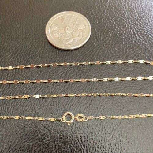 """18/"""" 20/"""" 14 k Solid Yellow Gold 1.45mm Hammered Forzentina Chain Necklace 16/"""""""