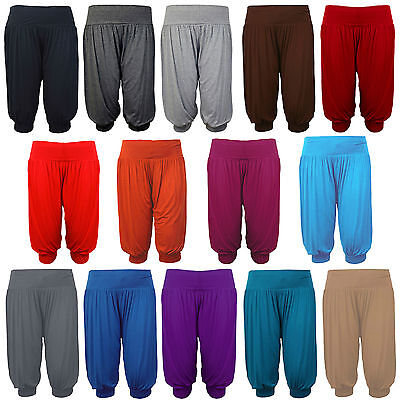 New Ladies 3/4 Harem Baggy Shorts Women Plain Cropped Ali Baba Trouser Pant 8-16