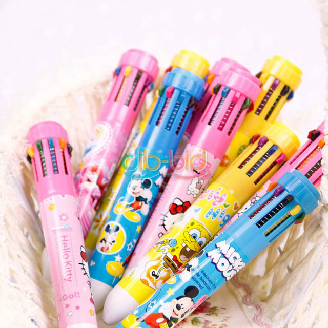 10 Colour Changable Retractable Writing Stationery Multicolour Ballpoint Pen DB