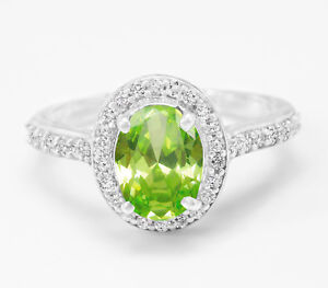 925-Sterling-Silver-Ring-Natural-Green-Peridot-Halo-Engagement-Size-4-11