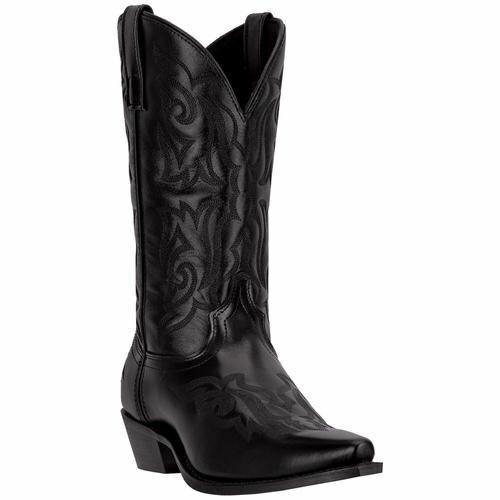 Larojoo Hombre Hawk Cowboy Del Oeste botas de Piel Negro 6860