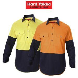 Mens-Hard-Yakka-Shirt-Hi-Vis-Closed-Gusset-Long-Sleeve-Work-Safety-Cotton-Y07984
