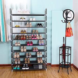 10-Tier-50-Pairs-Storage-Organizer-Shelf-Space-Saving-Shoe-Wall-Tower-Rack-Stand