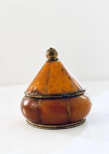 Beautiful-Vintage-Brass-Trinket-Pill-Box-w-Inlaid-Wood-w-Lid-Made-in-India