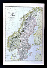 1883 Blackie Map - Sweden Norway Stockholm Oslo Christiansand Gottland Upsala