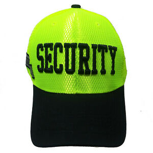 SECURITY  Novelty   Black Hat White Embroidered Snapback with Adjustable Strap