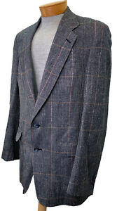 Austin Reed Sport Coat Blazer 100 Silk 42 Xl Glen Plaid Navy Blue Vintage Usa Ebay