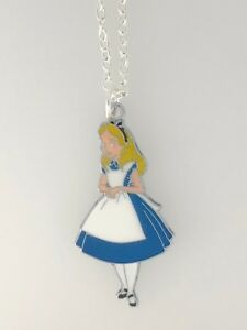 Silver-Plated-Necklace-with-Large-ALICE-IN-WONDERLAND-Enamel-Blue-White-Charm