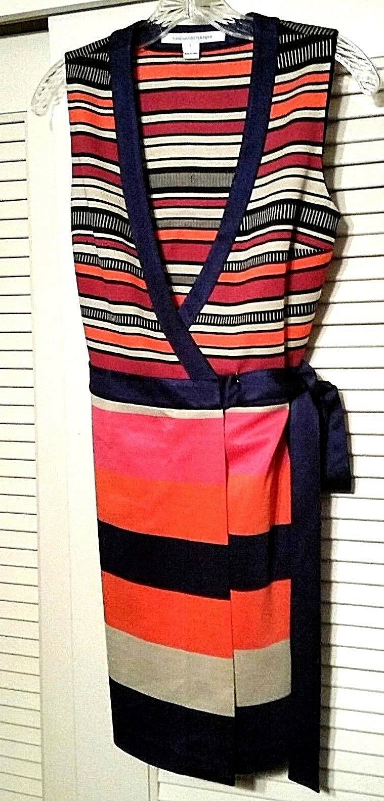 Diane Von Furstenberg Buff Tango Stripe Gracie Mini Wrap Dress  498 retail Sz 2