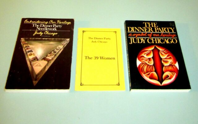 3 BOOKS JUDY CHICAGO DINNER PARTY 39 WOMEN FEMINISM ART NEEDLEWORK EMBROIDERING