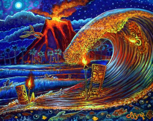 Tiki Surf Glowing Reef Hawaiian Island Lava Polynesian Art Painting CBjork PRINT