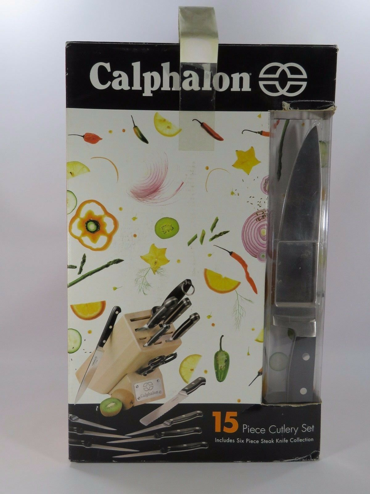 Calphalon Set de couverts 15 pièces Comprend 6 pièces couteaux à steak bois bloc neuf JH