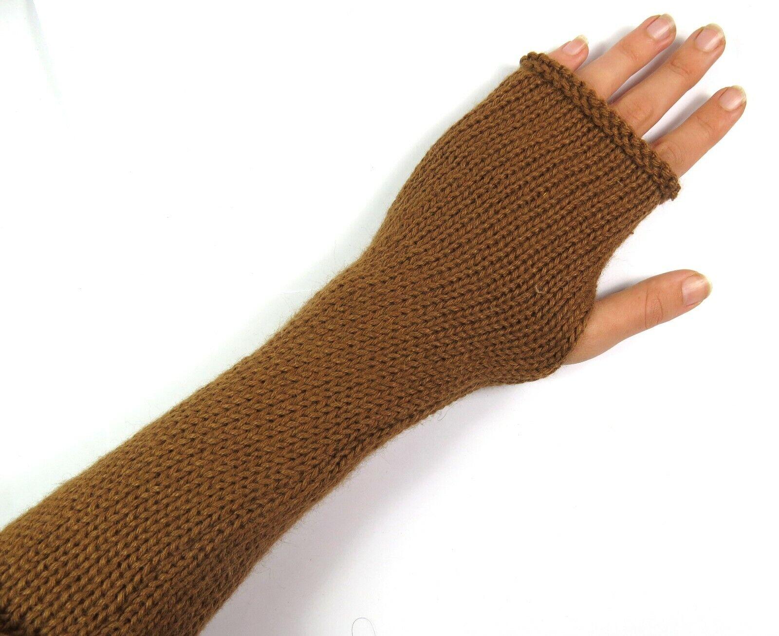 Pulswarmer Hand Stulpen 100% Alpaka Wolle Natur weich Warm Damen Hellbraun