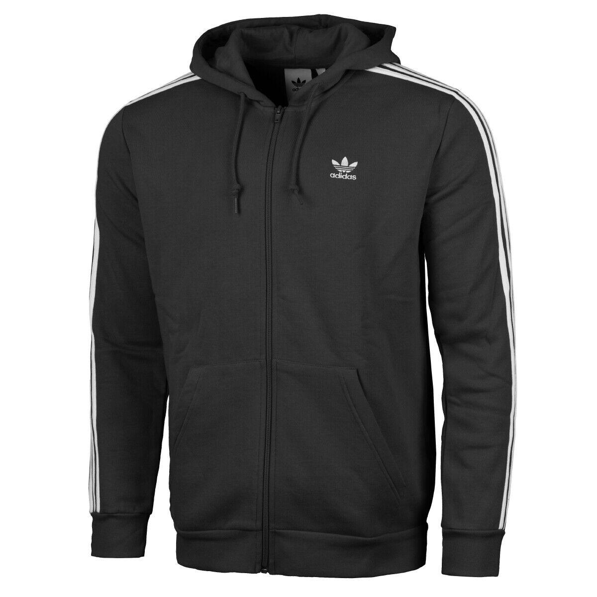 Adidas 3-Stripes Full Zip Hoodie Herren Kapuzen Jacke Sweatjacke schwarz DV1551