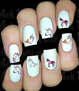 LICORNE-UNICORN-Fantasy-stickers-autocollant-ongles-manucure-nail-water-decal