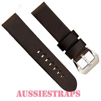 Vintage Distressed DARK BROWN Leather PreV Panerai style Buckle watch band strap