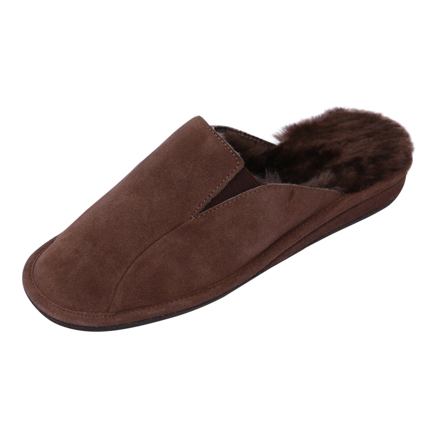 Lambskin Men's Slippers Viktor Brown Fur Shoes Slippers Slippers