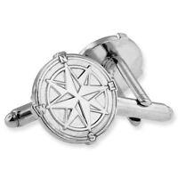 North Star Nutical Compass Silver Cufflink Set