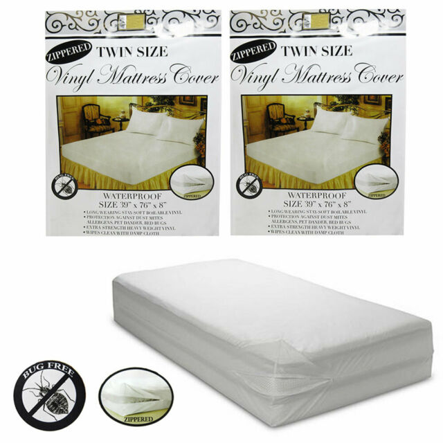 2 Pc Twin Vinyl Zippered Mattress Cover