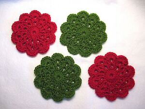 Hand Crocheted Mini Doily Coasters, Handmade Set of 4, Rose Red, Leaf Green, New