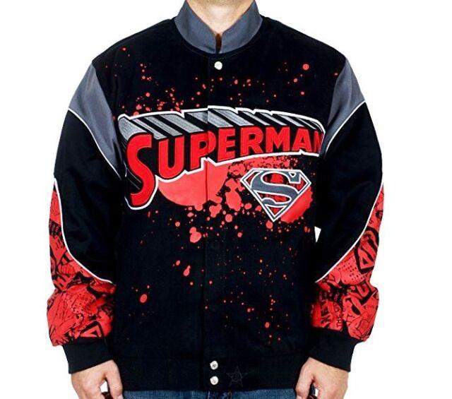 Superman Jacket Comic Splat Red Black Cotton Twill Adult ...
