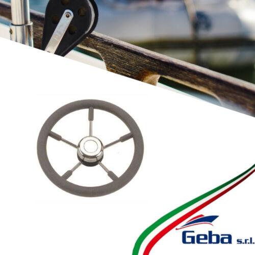 timone ruota guida 5 razze per barca gommone inox nautica timoneria poliuretano