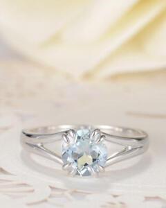 1.00 Ct Round Moissanite Wedding Ring 18K Bridal Solid White Gold ring Size 8