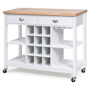 Kitchen Island Bar Storage Serving Cart