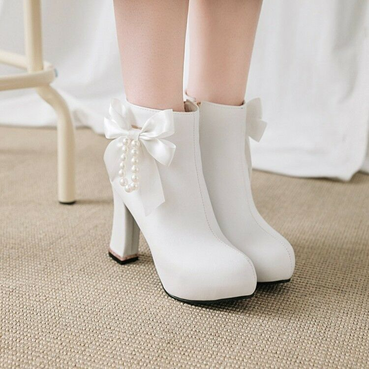 Womens Lolita Bowknot shoes Pearl Platform High Heel Ankle Boots Size Party