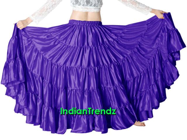 Red /& Purple Satin 25 Yard Tiered Gypsy Skirt Belly Dance Ruffle Jupe Flamenco
