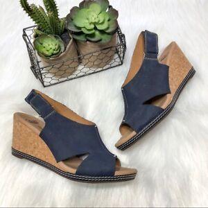 Clarks 9 M Navy Blue Wedge sandals Cork