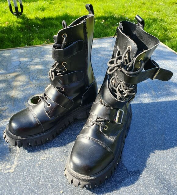 TUK (NuRock Style) Hefty Biker boots size UK10 Emo, Goth, Punk. new.