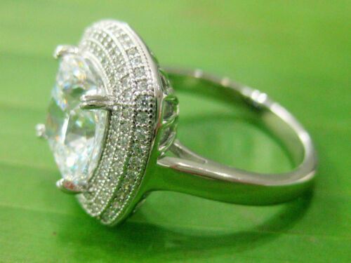 925 sterling silver Cushion Cz /& pave micro setting Engagement RING size L N P R