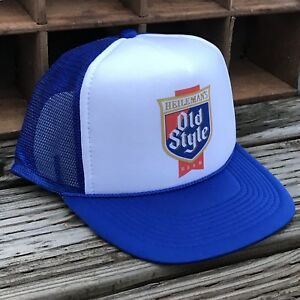 97a4996312cc8 Old Style Beer Vintage 80 s Style Trucker Hat Mesh Snapback Royal ...