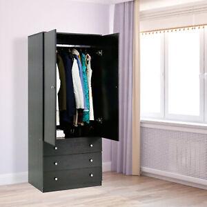 Wooden Armoire Wardrobe Storage Cabinet Closet Drawers ...