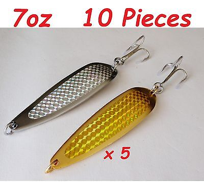 12 Pieces 7oz Casting Spoons Chrome//Silver Saltwater Fishing Lures