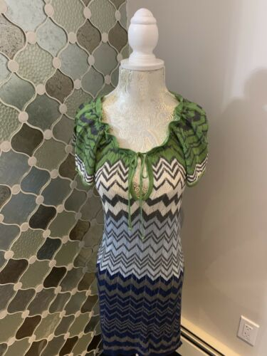 Dee Nwt Bcbg jurk streep gebreide Maxazria groen Ruffle blauw Wave mouw XS wwrYqE