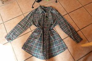 LAGENLOOK-edle-Stretch-Bluse-NO-SECRET-Gr-44-NEU-gruen-rot-silber-Baumwolle