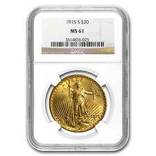 $20 Saint-Gaudens Gold Double Eagle Coin - Random Year - MS-61 NGC - SKU #32489